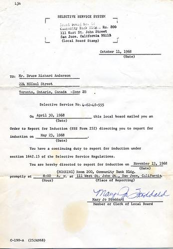 Selective Service Notice 1968
