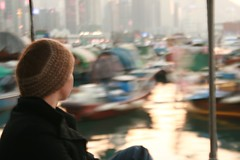 Meg on a boat in the Harbour, Hong Kong