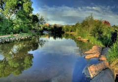 Oak Creek (JoelDeluxe) Tags: sunset arizona autostitch sedona joeldeluxe hdr riparian oakcreek supershot mywinner