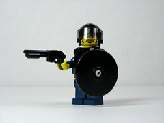 Specialist: Less Lethal Weapons (Dunechaser) Tags: lego police shield minifig minifigs shotgun lawenforcement swat crowdcontrol riotgear riotpolice brickarms