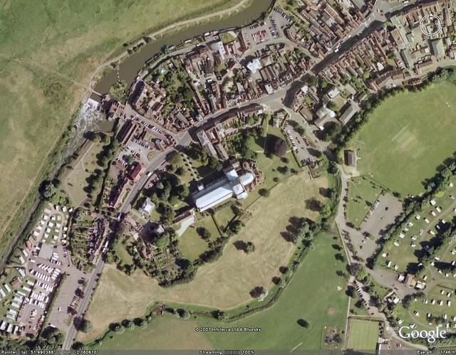 aerial view of tewkesbury abbey