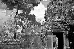 Banteay Kdei - Angkor in B&W  (hk_traveller) Tags: travel bw white black smile canon ir photo asia cambodia khmer turbo filter siem reap infrared g1 angkor  canong1 093 banteay    kdei  turbophoto