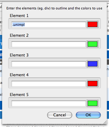 Choosing custom elements and outline colors in Chris Pederick's Web Developer Toolbar.