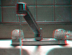 Faucet (3D) (lunarman1959) Tags: water stereoscopic 3d sink anaglyph faucet h20