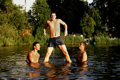 Albanian guys' beach fun. (AFIK  BERLIN) Tags: friends summer hot berlin beach weather swimming guys ragazzi albanians beachfun