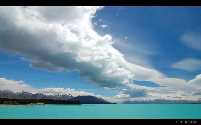 爆-藍天白雲-普卡基湖