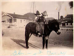 vintage: grandpa and friend on a donkey (deflam) Tags: arizona west boys cowboys kids vintage children town grandfather donkey grandpa mining western hayden miningtown