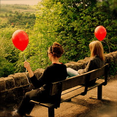 The red balloon diaries *2 (cattycamehome) Tags: girls red summer portrait colour green girl tag3 taggedout kara bench balloons landscape countryside spring women bravo tag2 all sitting tag1 view bright quote derbyshire  watching balloon dream surreal dreaming hills rights jess reserved proust catherineingram gtaggroup may2007 abigfave cattycamehome allrightsreserved cfmay redballooons