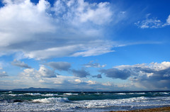 Above the Sea (esther**) Tags: blue sea sky beach clouds landscape bravo mediterranean waves wind interestingness1 greece shore topf150 topf100 rhodes interestingness2 interestingness5 interestingness14