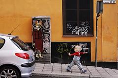 Art in the streets (mmikaoj) Tags: urban streetart color pasteup graffiti nice stockholm citylife tags littlegirl oldlady