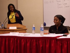 """Black Women Discuss Imagery"" moderator Stephanie Brandford and panelist Cheryl Lynn"