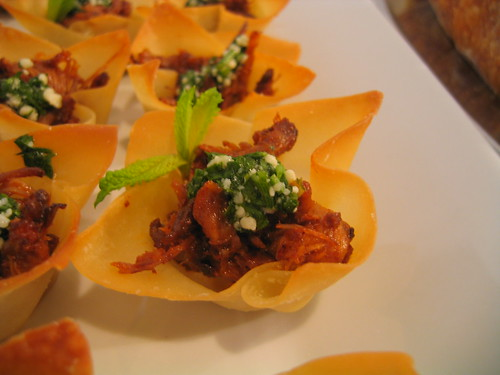 romesco pulled pork canape with pecorino salsa verde