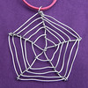 Steel Cobweb Pendant with pink cord