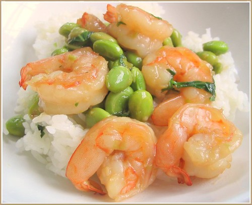 Shrimp and Edamame Stir Fry with Basil