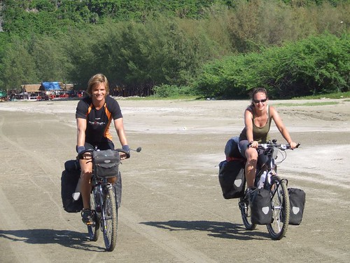 Nicolai and Sophie. Beach cycling.