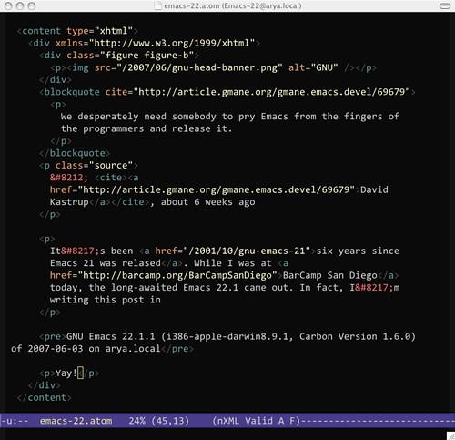 Screenshot of Emacs 22.1