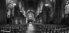 St. Giles Cathedral preparing for an Advent Concert (lunaryuna) Tags: scotland edinburgh capital architecture architecturalinteriors stitchedpano stgilescathedral church cathedral beauty arches lamps lightmood lunaryuna blackwhite bw monochrome