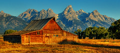 Moulton Barn Morning Shadow (Jeff Clow) Tags: mountains barn landscape bravo searchthebest wyoming grandtetonnationalpark magicdonkey outstandingshots moultonbarn abigfave superbmasterpiece diamondclassphotographer cjeffrclow copyrightedbyjeffrclowallrightsreservednounauthorizedusageallowed