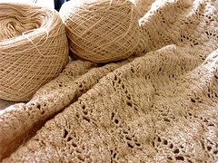 Crochet Silk Wrap - in progress (poppalina) Tags: baby fan pattern natural lace crochet cream silk wrap aurora blanket shawl weight shula neutral 2ply poppalina