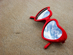 glasses (owlana) Tags: red sky reflection beach sunglasses clouds hearts sand prom 2007