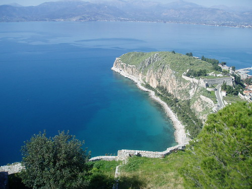 View of Nafplio's seaside path from Palamidi Fortress