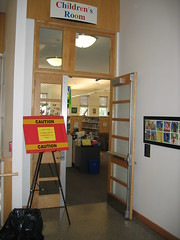 Caution Sign at Childrens Room Door (chelmsfordpubliclibrary) Tags: door usa art sign ma mural library room massachusetts entrance doorway tiles childrens mass cpl chelmsford chelmsfordpubliclibrary childrensroom chelmsfordlibrary yettifrenkel stevemaloney