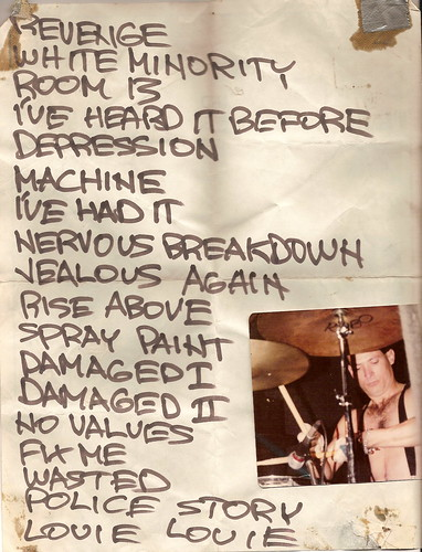 Black Flag Set List with pic of Robo the Drummer