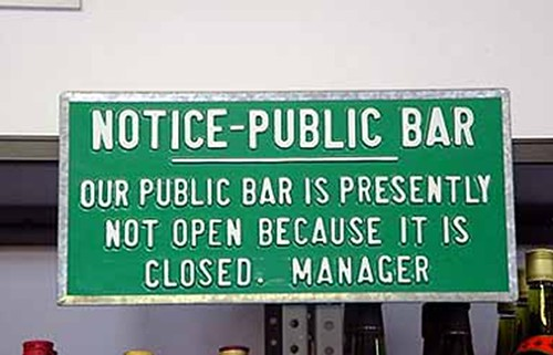 this public bar is closed...