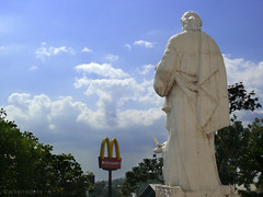 for the body and for the soul (jobarracuda) Tags: sky food saint sign statue lumix fastfood mcdonalds signage mcdo fz50 panasoniclumix antipolochurch dmcfz50 jobarracuda