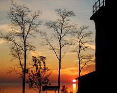 Spring Evening at the Goderich Lighthouse (Screen Door Slams) Tags: trees sunset lighthouse lake ontario canada silhouette nikon huron goderich d40