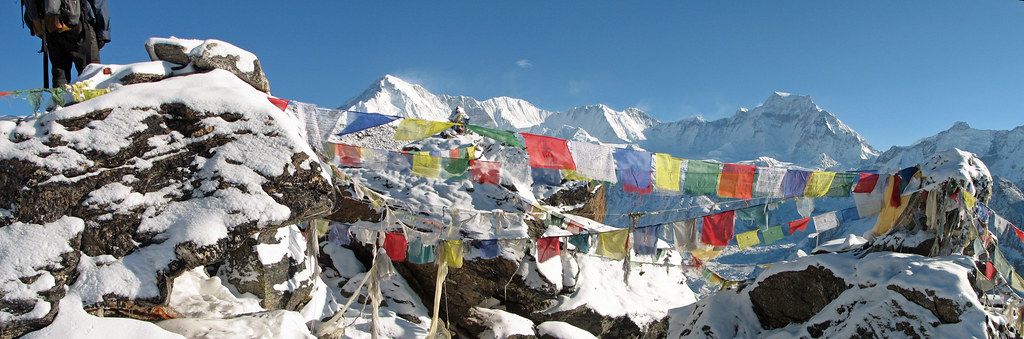 Nepal - Summit prayer flags on Gokyo Ri in front of 8000m Cho Oyu