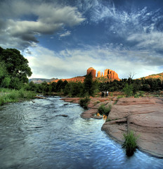 Oak Creek and Cathedral Rock (JoelDeluxe) Tags: sunset red arizona rock sedona az redrock joeldeluxe hdr oakcreek endofsedonaset