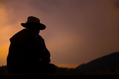 Resting (Luis Montemayor) Tags: sunset man classic hat clouds mexico atardecer tracks nubes sit sentado sombrero silueta hombre vias lamarquesa colorphotoaward