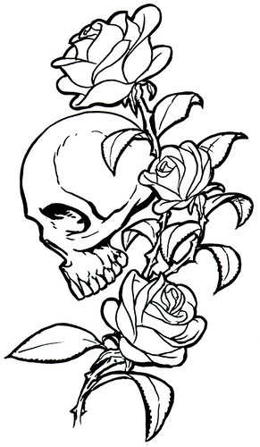Rose tattoo flash design