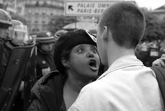 (Hughes Lglise-Bataille) Tags: blackandwhite bw paris france topf25 topf50 nikon noiretblanc protest photojournalism police demonstration d200 nocrop sarkozy manif manifestation 2007 sarko topv1000 antisarko