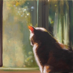 Cat At Window 2 (HagitSha) Tags: shadow pet cats green art window cat painting artist curtain kitty kitties  oilpainting
