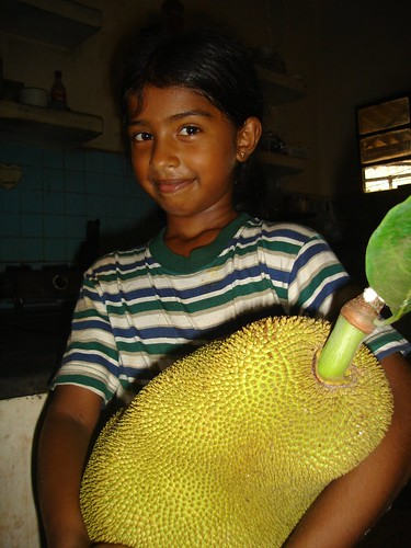 Riza... with a jackfruit by fredericknoronha.
