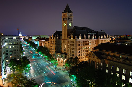Pennsylvania Ave - Old Post Office to the Capitol at Night