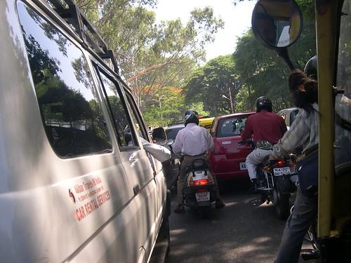 Helmet wearing Motorcyclists