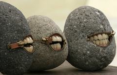 With smiles like that they must be...stoned (TruShu) Tags: japan stone mouth weird interesting teeth creative may craft fair zipper create matsumoto zip creep 2007 imaginative   zipit     zipitup