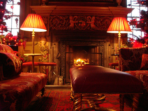Log fire in tapestry room of Edinburgh's Prestonfield Hotel