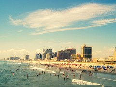 Perfect Day at the Beach (~ladanseuse) Tags: ocean blue red sea summer sky people sun white hot green beach water clouds buildings sand waves afternoon gray tourists atlanticcity umbrellas casinos 5photosaday
