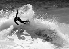 Skimmer Boy 1 in Black and White (Alicia Napier Photography (oc girl)) Tags: ocean blackandwhite bw beach sports water composition contrast blackwhite surf waves pacific action surfer board surfing orangecounty skimmer skimming
