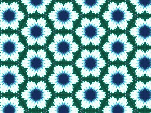 Bright Big Petal Flowers with Blue Centers in Green Hex