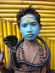 If it's Monday, this must be Shiva (Sirensongs) Tags: friends boy portrait india snake beggar explore maharashtra shiva hinduism pune southasia sirensongs charmbeautypeoplesociety celebritieshalloffame tribesandhya theindiatree indologistatlarge