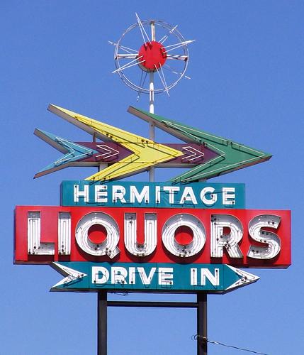 Hermitage Liquors sign