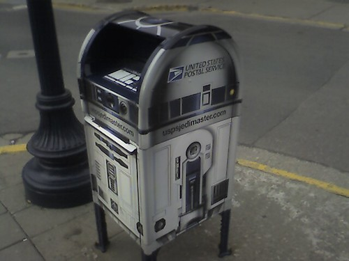 Postal drop-box painited like R2-D2 from the movie STAR WARS