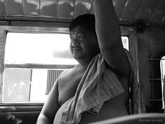 a jeepney photo op (jobarracuda) Tags: travel bw lumix passenger jeepney byahe fz50 panasoniclumix dmcfz50 jobarracuda caloocancity jobar jojopensica
