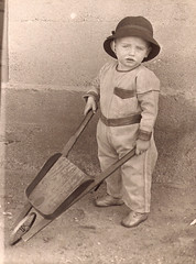 grandpa with a small wheel barrel (deflam) Tags: boy arizona portrait vintage kid globe child grandpa gilmer wheelbarrel