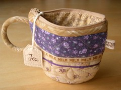 TeaCup pouch 29 (PatchworkPottery) Tags: bag tea handmade sewing crafts country purse pouch zip